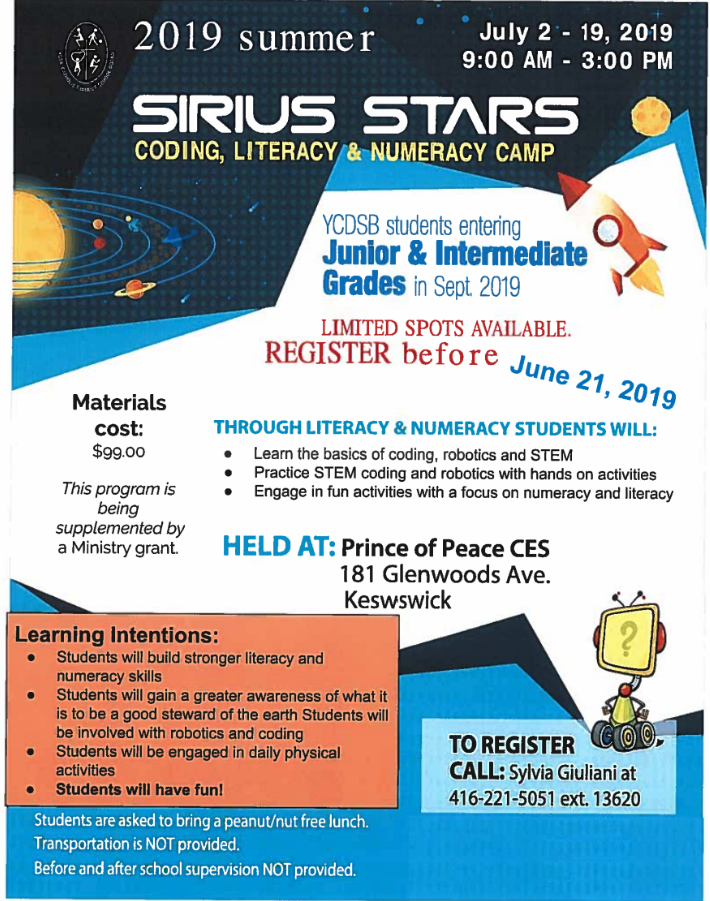 Sirius Stars Summer Camp at Prince of Peace – Only $99