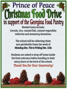 Georgina Food Pantry Christmas Food Drive December 7th to 11th, 2020 at POP
